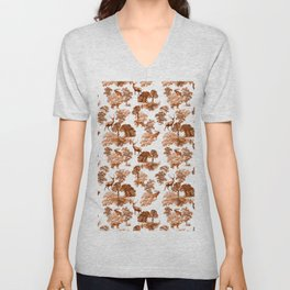 Classic Brown French Toile Autumn Countryside Deer Pattern Unisex V-Neck