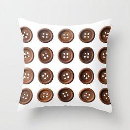 Set of dark brown wooden buttons Throw Pillow