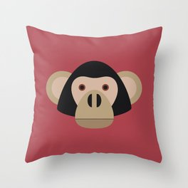 Chimp on red background Throw Pillow