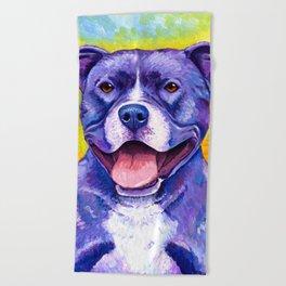 Colorful American Pitbull Terrier Dog Beach Towel