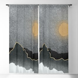 Golden Ridge Starry Night // Black Mountain Scape High Quality Speckled Star Sky Gold Moon Landscape Blackout Curtain