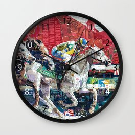Abstract Race Horses Collage                                         Wall Clock