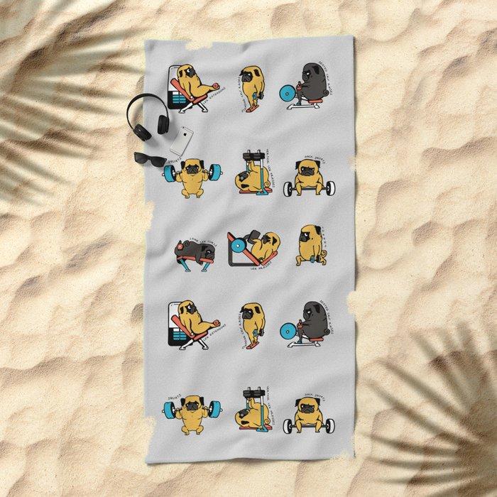 Leg Day with The Pug Beach Towel