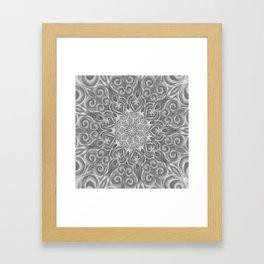 Gray Center Swirl Mandala Framed Art Print