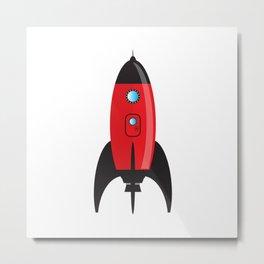 Red Cartoon Space Rocket Metal Print