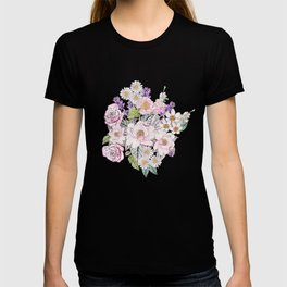 Watercolor garden peonies floral hand paint T-shirt