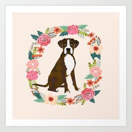 Boxer brindle floral wreath flowers dog breed gifts Art Print
