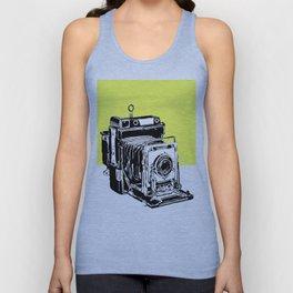 Vintage Graphex Camera pop art print in canary yellow Unisex Tank Top
