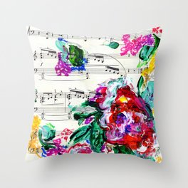 Musical Beauty - Floral Abstract - Piano Notes Throw Pillow
