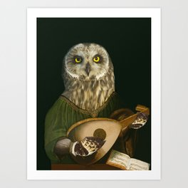 Renaissance Owl Playing His Lute Art Print