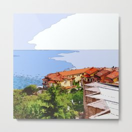 Sea and colorful roofs Metal Print