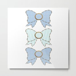 Polka Dots and Stripes Blue Bows  Metal Print