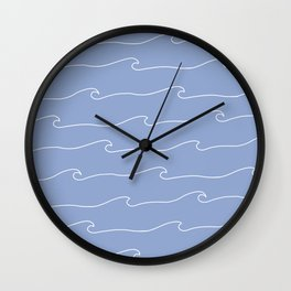 Waves & Lines - Pattern - White & Light Blue Wall Clock