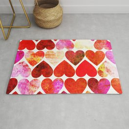 Mod Red Grungy Hearts Design Rug