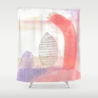 peach Shower Curtains featuring Peach by Lydia Makes Art