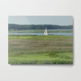 sailboat on the river Metal Print