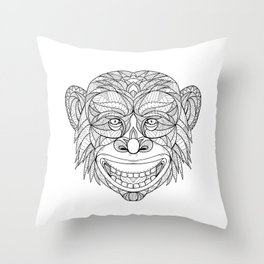Chimpanzee Head Zentagle Throw Pillow