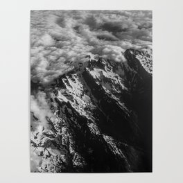 Washington Cascade Mountain Ariel View Poster