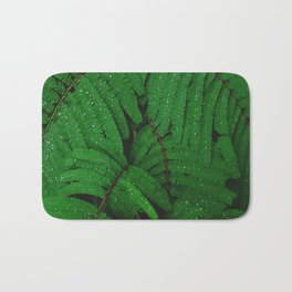 Layers Of Wet Green Fern Leaves Patterns In Nature Bath Mat