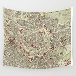 Vintage Map of Vienna Austria (1883) Wall Tapestry
