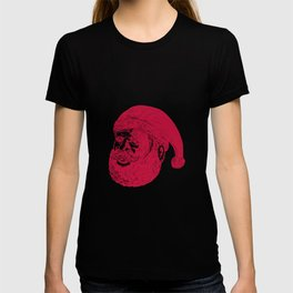 Santa Claus Head Woodcut T-shirt