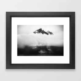Teton in the clouds Framed Art Print