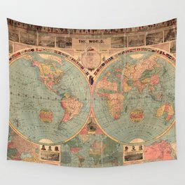 Vintage Map of The World (1883) Wall Tapestry