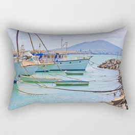 Boats on the river Rectangular Pillow