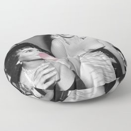 Bubble Gum Satirical Sophia Loren and Jane Mansfield black and white photography - photographs Floor Pillow