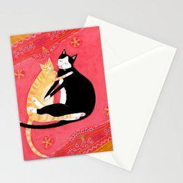 Cats on a rug Tuxedo cat and Orange Tabby by Tascha Stationery Cards