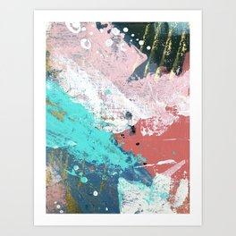 Daydreams: a colorful abstract mixed media piece in pinks, blues, greens, white, and gold Art Print