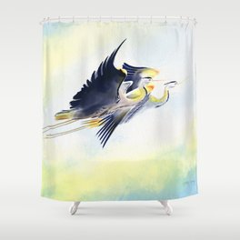 Flying Together 2 - Great Blue Heron Shower Curtain