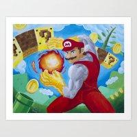 Buff Mario Art Print