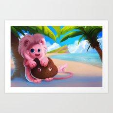 Lion on the Beach Art Print