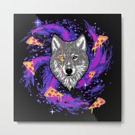 Galactic Pizza Wolf Metal Print