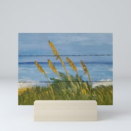 Acrylic painting of sea oats on wood Mini Art Print