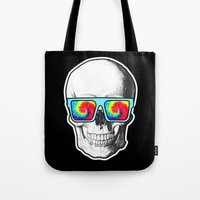 psychadelic Tote Bags featuring Psychadelic Skull Tiedye glasses by Chara Chara