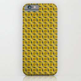 Geometric pattern with interlaced circles in gold iPhone Case