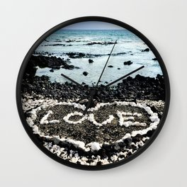 "Hawaii Black Sand Beach & Coral ""Love"" Heart Photo Wall Clock"