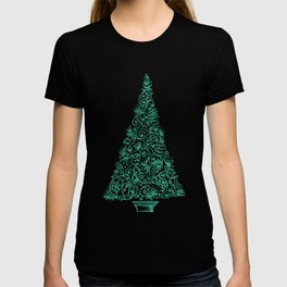green Christmas tree in New Zealand T-shirt