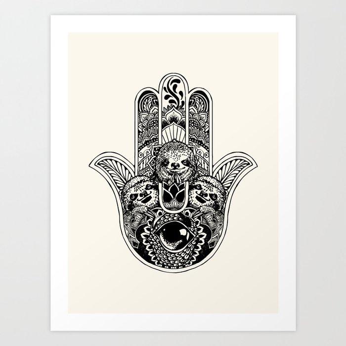 06e12b60f Hamsa Hand Sloth Art Print by huebucket | Society6