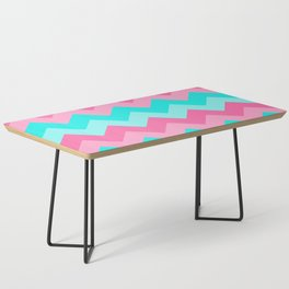 Hot Pink Turquoise Aqua Blue Chevron Zigzag Pattern Print Coffee Table