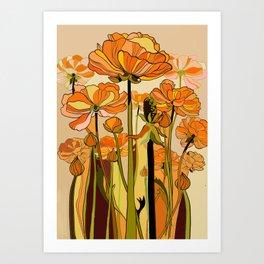 70s, Orange California poppies, mid century, 70s retro, flowers Art Print