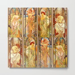 "Alphonse Mucha ""Times of day"" Metal Print"