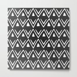 Etched Zig Zag Pattern in Black and White Metal Print