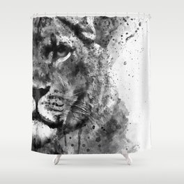 Black And White Half Faced Lioness Shower Curtain