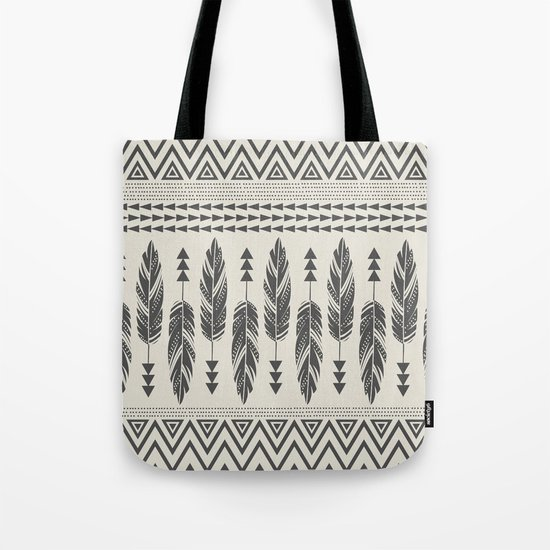 Tribal Feathers-Black & Cream Tote Bag