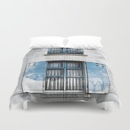 Architect Drawing of Blue Wooden Windows Duvet Cover
