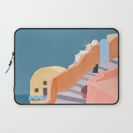 Santorini Pebble Stairs and Houses Laptop Sleeve