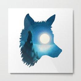 Midnight Wolf Metal Print